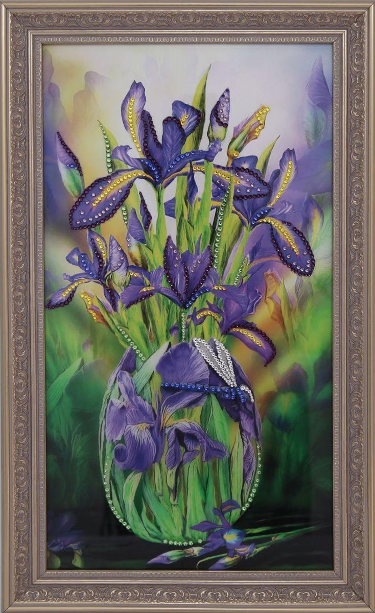 Картина с кристаллами Swarovski Цветы Ирисы