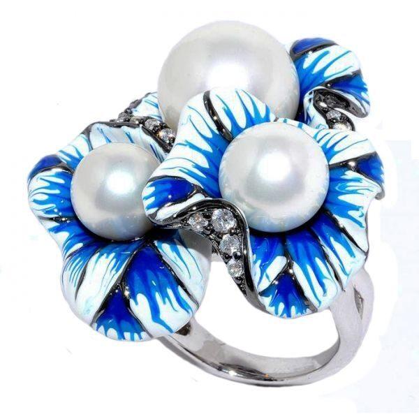 Кольцо с кристаллами Swarovski Жемчужина