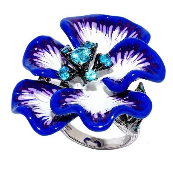 Кольцо с кристаллами Swarovski Лепесток
