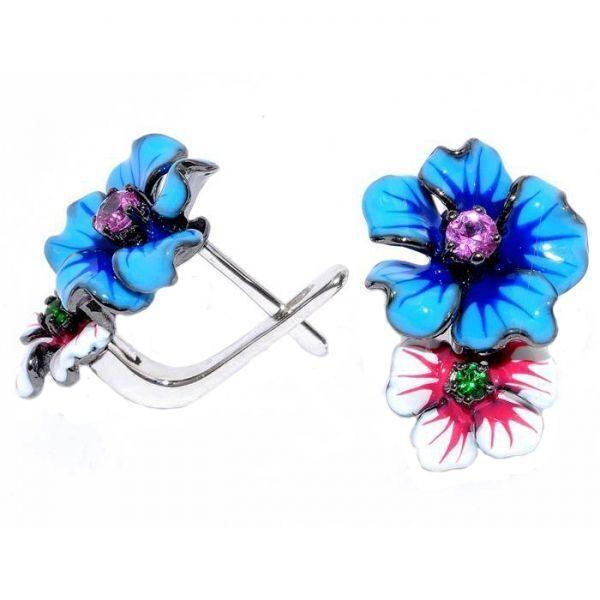 Оригинальные серебряные серьги Цветы
