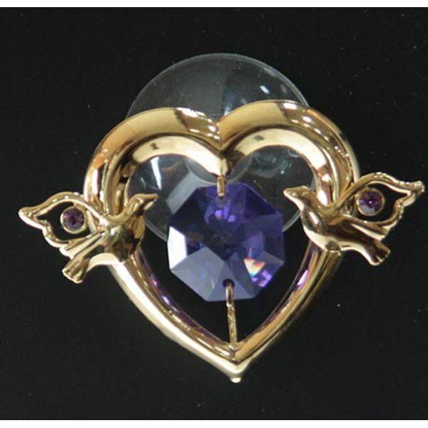 Фигурка декоративная сваровски Сердце на присоске с кристаллом