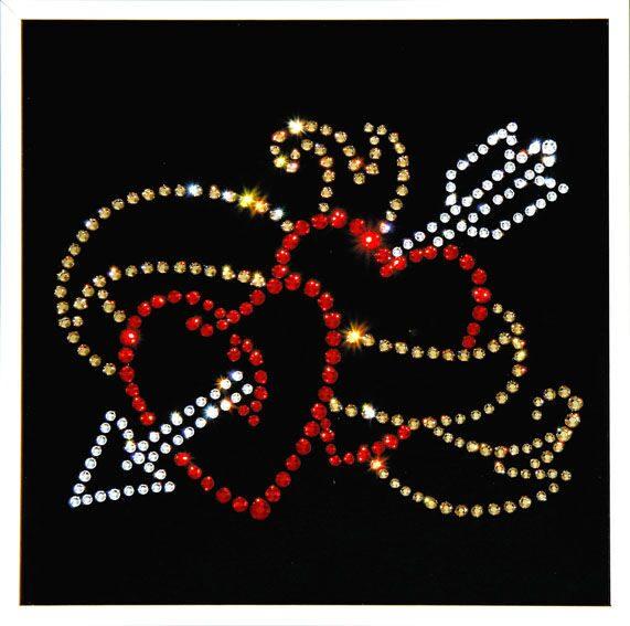 Картина с кристаллами Swarovski Сердца с лентой