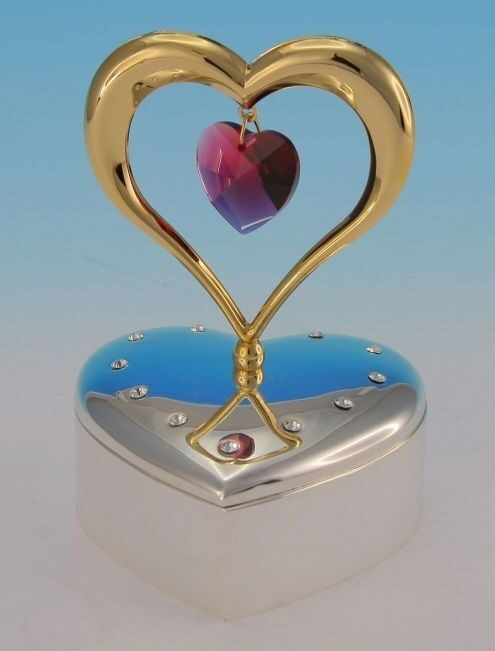 Фигурка Swarovski  на музыкальной подставке Золотое сердце