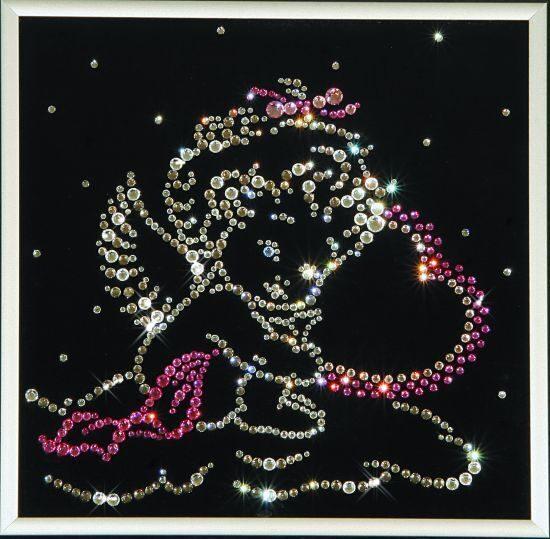 Картина с кристаллами Swarovski  Ангелочек