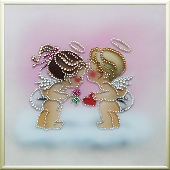 Картина с кристаллами Swarovski  Ангелочки