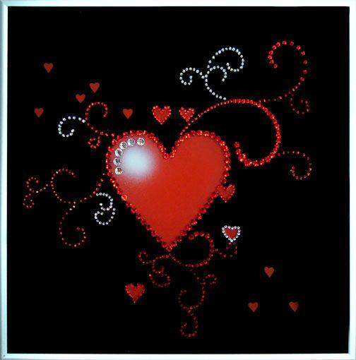 Картина с кристаллами Swarovski Сердце ажурное