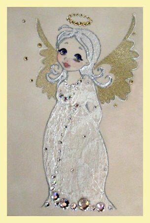 Картина с кристаллами Swarovski  Ангелочек в белом