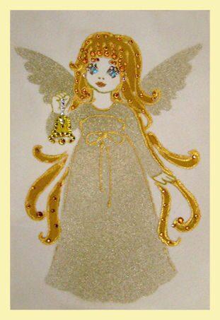 Картина с кристаллами Swarovski  Ангелочек с колокольчиком(рождественский)