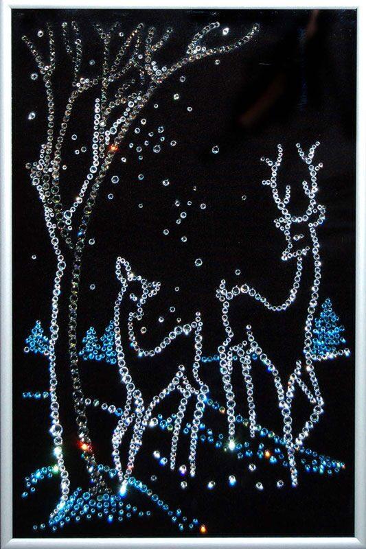 Картина с кристаллами Swarovski  Новогодний пейзаж