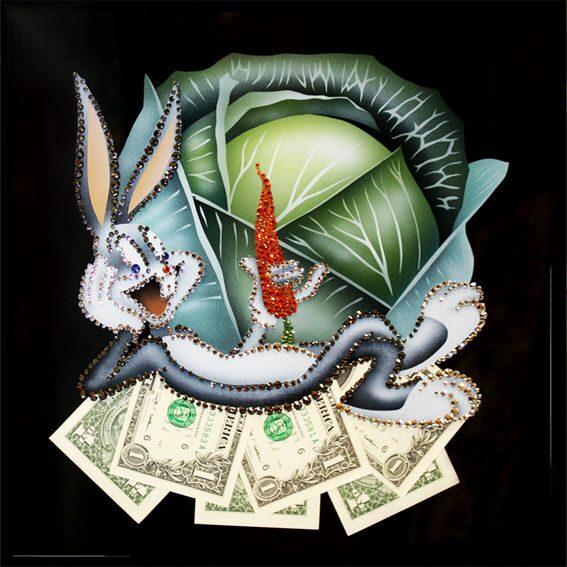 Картина с кристаллами Swarovski Кролик в капусте