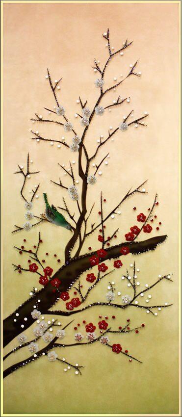 Картина с кристаллами Swarovski  Цветущая сакура