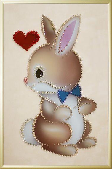 Картина с кристаллами Swarovski Зайчик с любовью