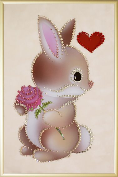 Картина с кристаллами Swarovski  Зайка с любовью