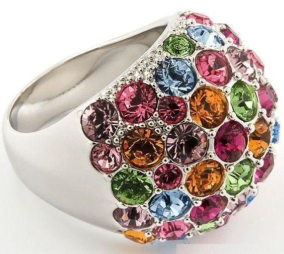 Кольцо с кристаллами  Swarovski  Глория