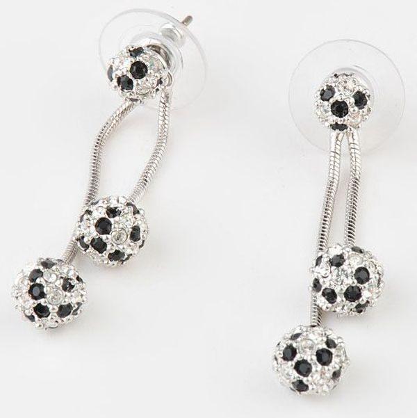 Серьги с кристаллами Swarovski   Двойная карусель