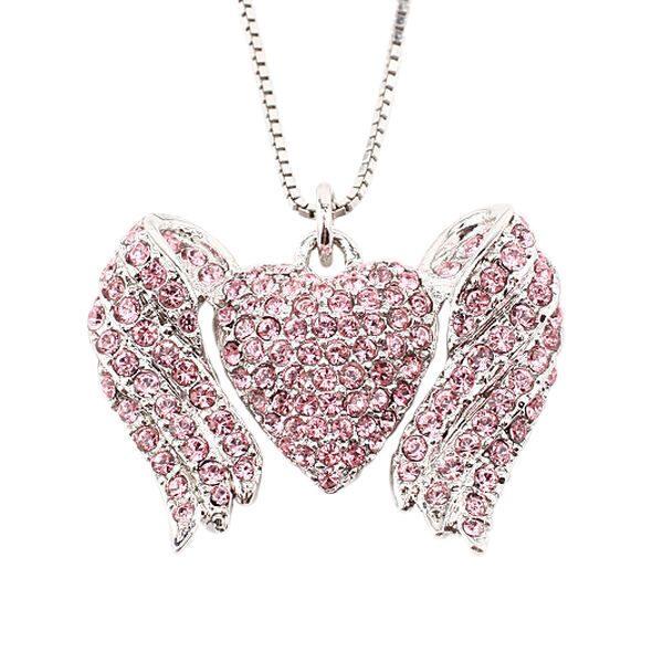 Подвеска с кристаллами сваровски  Окрыленное сердце