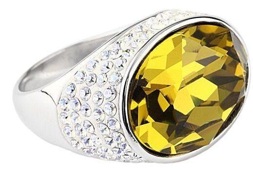 Серебряное кольцо с кристаллами Swarovski Мечта Овал