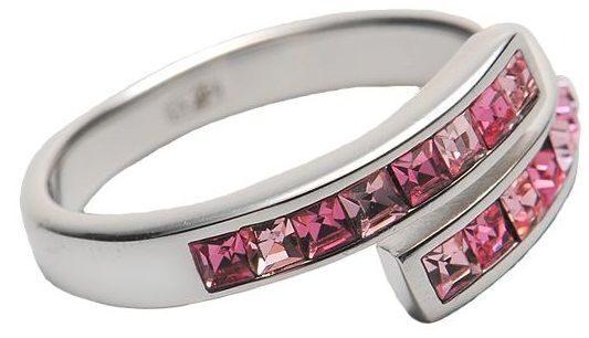 Серебряное кольцо с кристалами  Миниквадраты