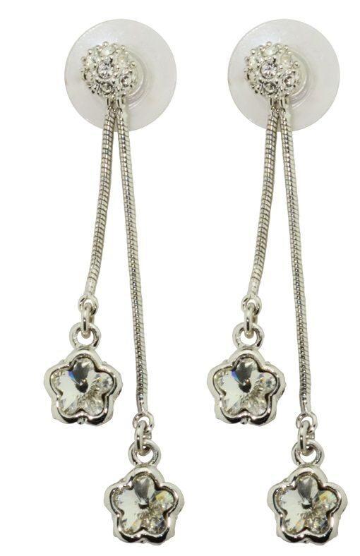 Гвоздики с кристаллами Swarovski Двойной цветочек