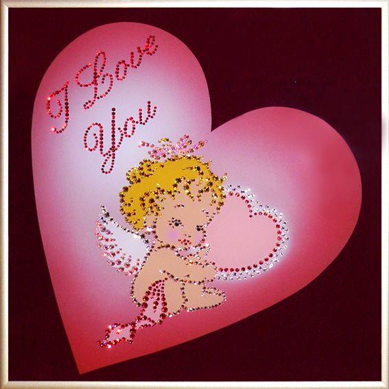Картина с кристаллами Swarovski  Ангелочек с любовью