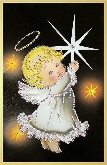 Картина с кристаллами Swarovski  Звездный ангелочек