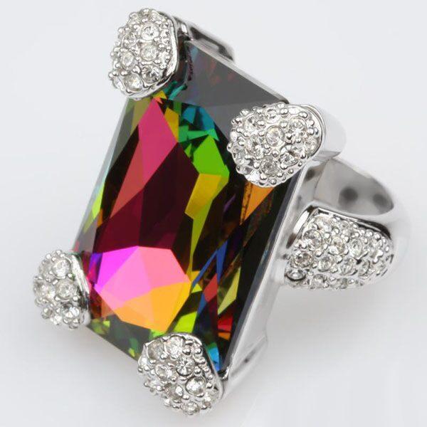Кольцо с кристаллами  Swarovski  Помпадур