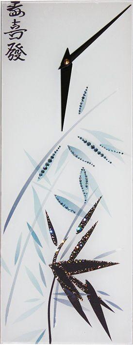 Настенные часы с кристаллами сваровски Бамбук