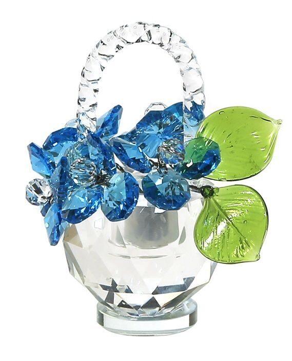 Корзинка цветов с кристаллами  Swarovski Хрустальные васильки