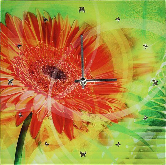 Настенные часы с кристаллами сваровски Гербера