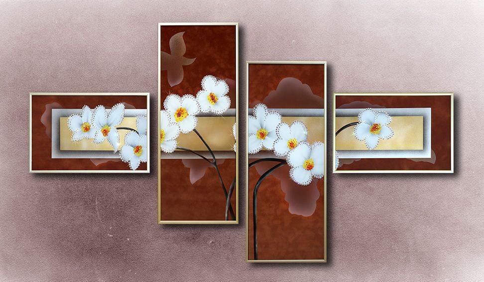 Картина с кристаллами Swarovski  Композиция Нарциссы