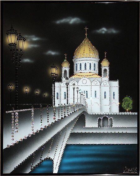 Картина с кристаллами Swarovski  Храм Христа Спасителя-2