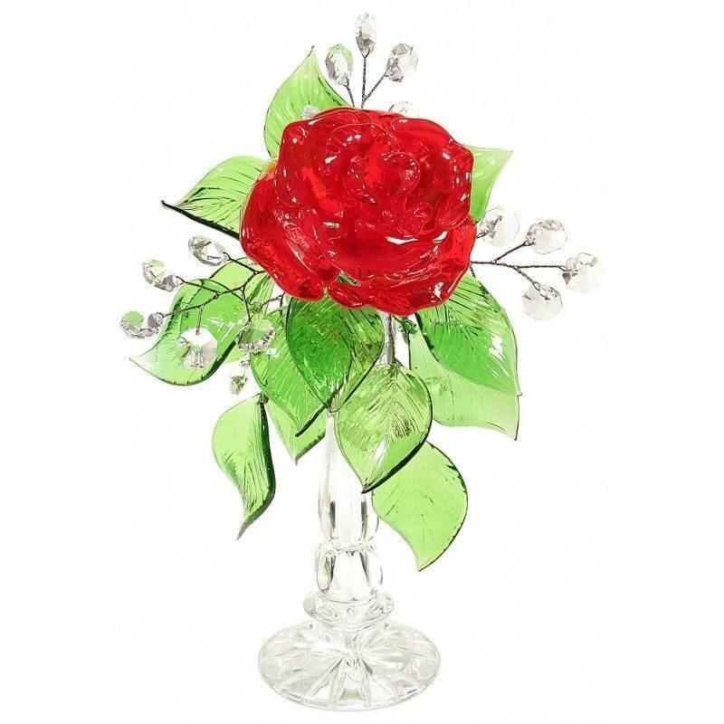 Хрустальная роза на подставке