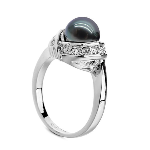 Кольцо с кристаллами Swarovski Чёрная магия
