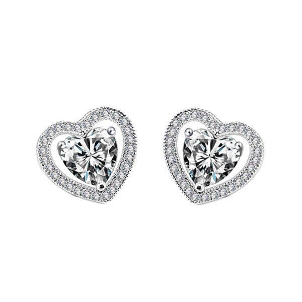 Серьги с кристаллами сваровски Сердца двух