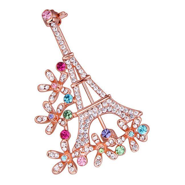 Брошь с кристаллами Swarovski Эйфелевая башня