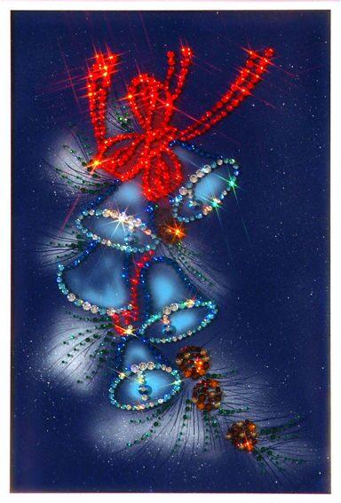 Картина с кристаллами Swarovski  Колокольчики(новогодние)