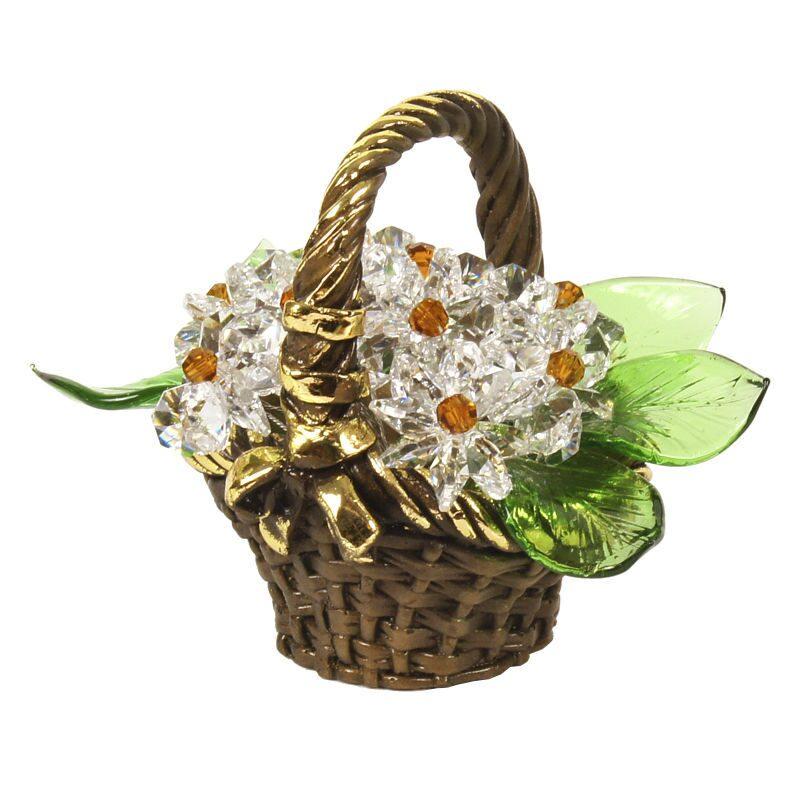Корзинка с цветами из хрусталя Ромашки