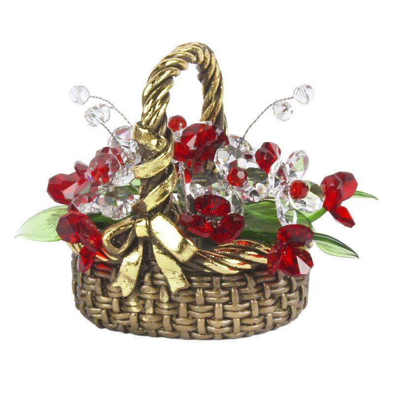 Хрустальные цветы в корзинке Красные ягодки