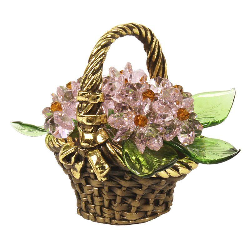 Корзинка с цветами из хрусталя Полевой букет