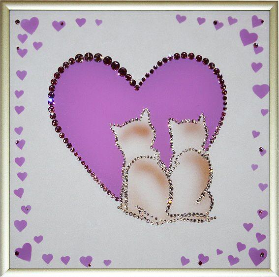 Картина с кристаллами Swarovski  Одно сердце на двоих