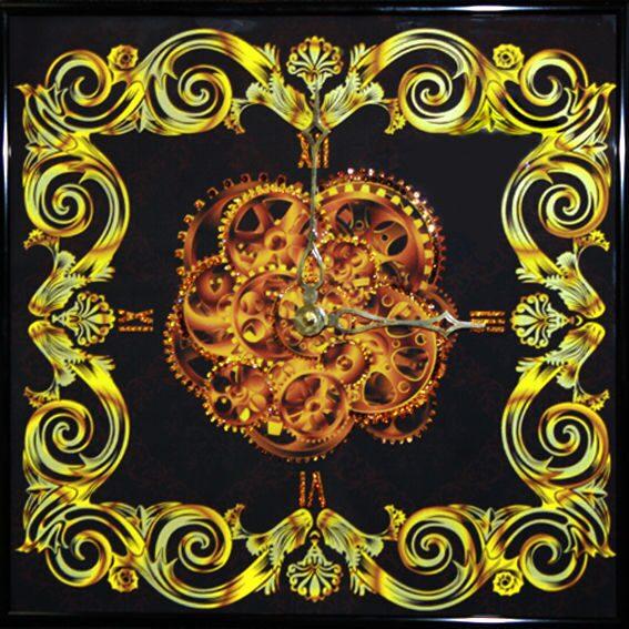 Настенные часы с кристаллами сваровски  Витраж