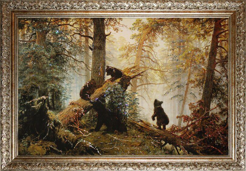 Картина с кристаллами Swarovski Утро в Сосновом бору
