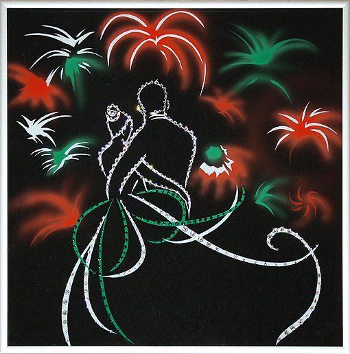 Картина с кристаллами Swarovski Свадебный салют