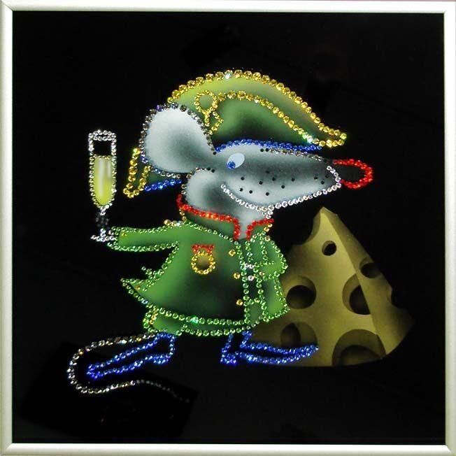 Картина с кристаллами Swarovski  Крыса-Наполеон
