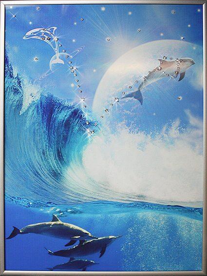 Картина с кристаллами Swarovski Небесные рыбы