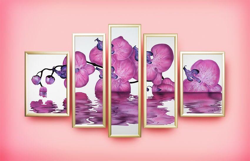 Картина с кристаллами Swarovski  Композиция Сиреневая орхидея