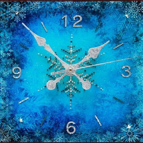 Настенные часы с кристаллами сваровски Зимний узор