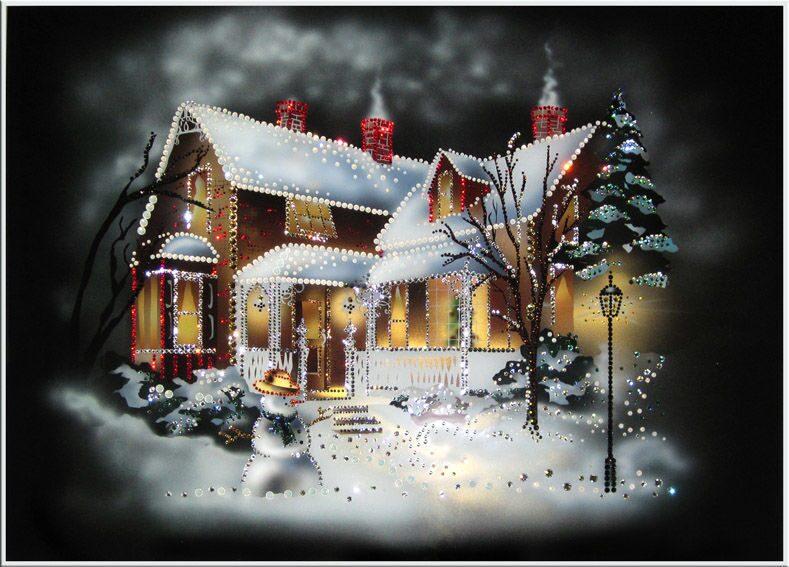 Картина с кристаллами Swarovski  Рождественский домик