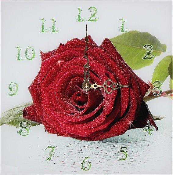 Настенные часы со стразами Swarovski Роза