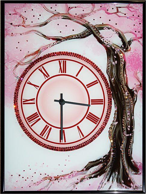Настенные часы со стразами сваровски Сакура